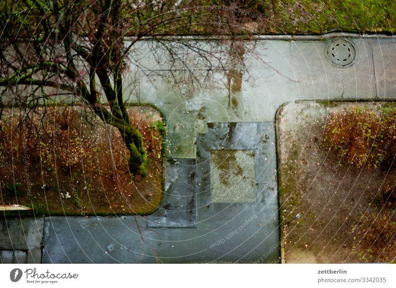 Regenwetter aus der Vogelperspektive Berlin nass Niederschlag Regenwasser Wassertropfen Fensterscheibe trüb Stadt Stadtleben Vorgarten Pfütze Menschenleer