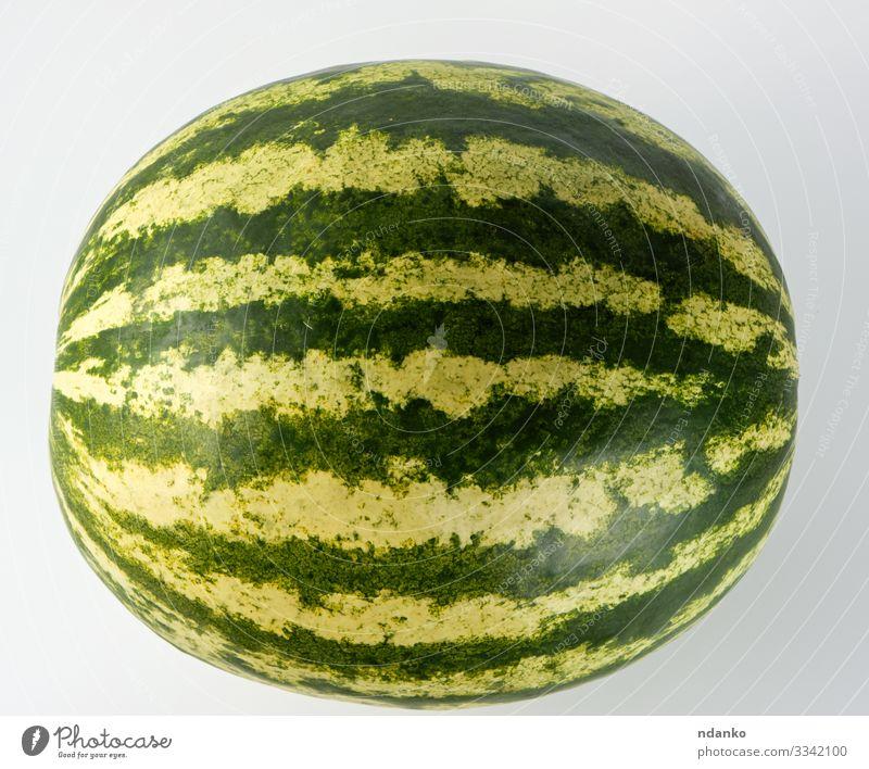 große grün gestreifte ganze Wassermelone Frucht Dessert Ernährung Essen Vegetarische Ernährung Diät Sommer Natur frisch saftig rot weiß Ackerbau Beeren kreisen