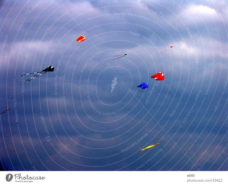 Drachen am Herbsthimmel Himmel blau fliegen Freizeit & Hobby