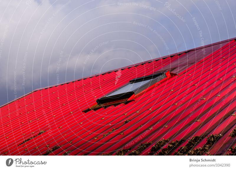 Ein rotes Dach vor grauem Himmel Farbe Haus Fenster Architektur Stil Design Metall leuchten Fröhlichkeit Idee Freundlichkeit Schutz Sicherheit