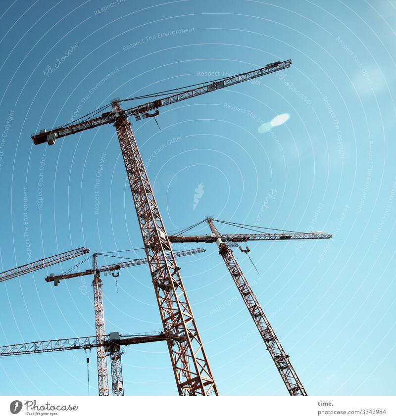 Stadtgiraffen (9) Arbeit & Erwerbstätigkeit Arbeitsplatz Baustelle Industrie Handwerk Technik & Technologie Himmel Schönes Wetter Kran stehen sportlich hoch