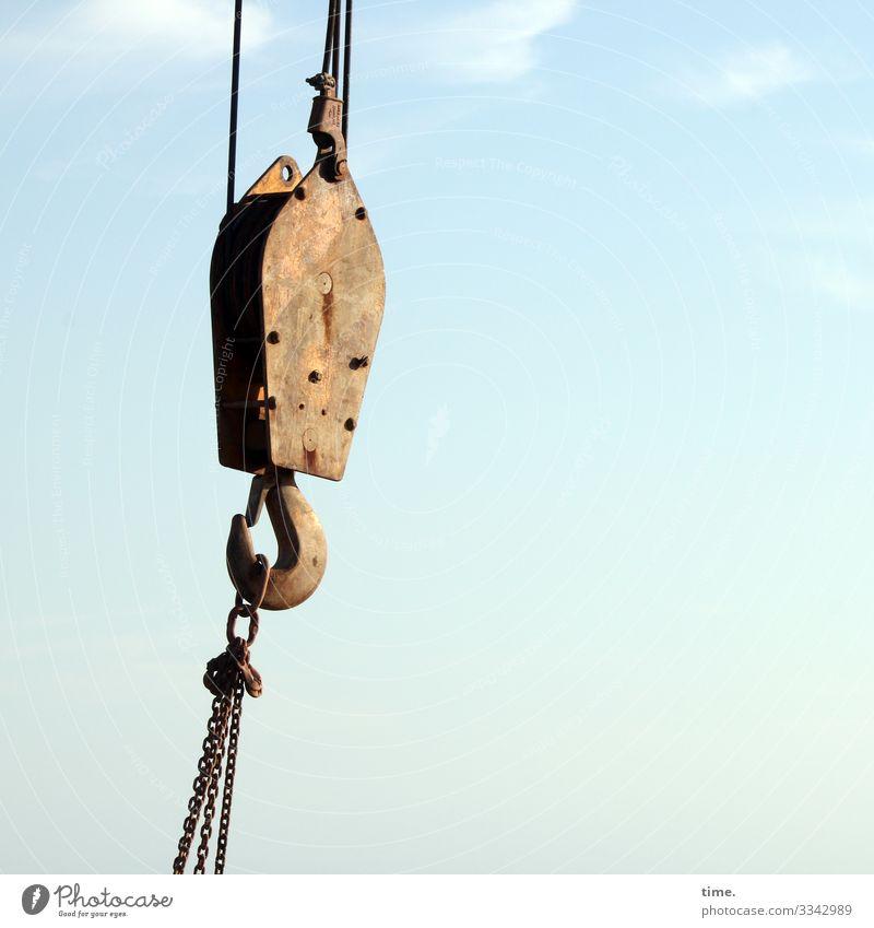 Verkettungen (8) schönes wetter kran haken kette hängen himmel wolken spannung metall eingehakt service baustelle handwerk
