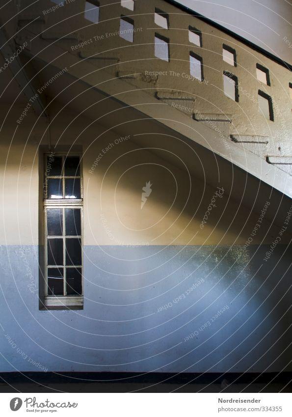 Grafisch | Ölfarbe blau weiß Einsamkeit Haus gelb Fenster kalt Wand Architektur Innenarchitektur Mauer Gebäude Stein Zeit Raum Treppe