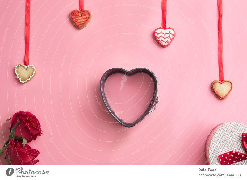 Valentinstag, Muttertag, Geburtstagskuchen Teigwaren Backwaren Dekoration & Verzierung Tisch Küche Rose Herz Liebe machen lecker oben Tradition Hintergrund