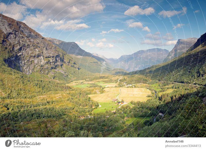 Wunderschöne Bergsommerlandschaft in Norwegen Blauer Himmel Ferien & Urlaub & Reisen Tourismus Sommer Meer Berge u. Gebirge Umwelt Natur Landschaft Wolken Baum