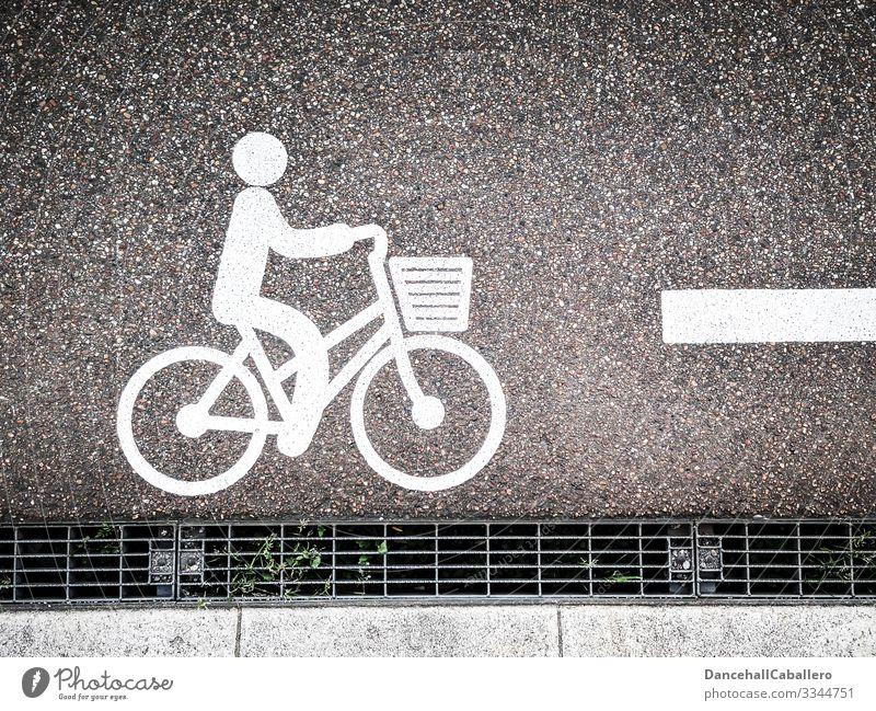 Fahrrad-Piktogramm auf Straße Fahrradfahren Verkehr Fahrradkorb Fahrradtour Mobilität Schilder & Markierungen Freizeit & Hobby Verkehrswege Verkehrsmittel