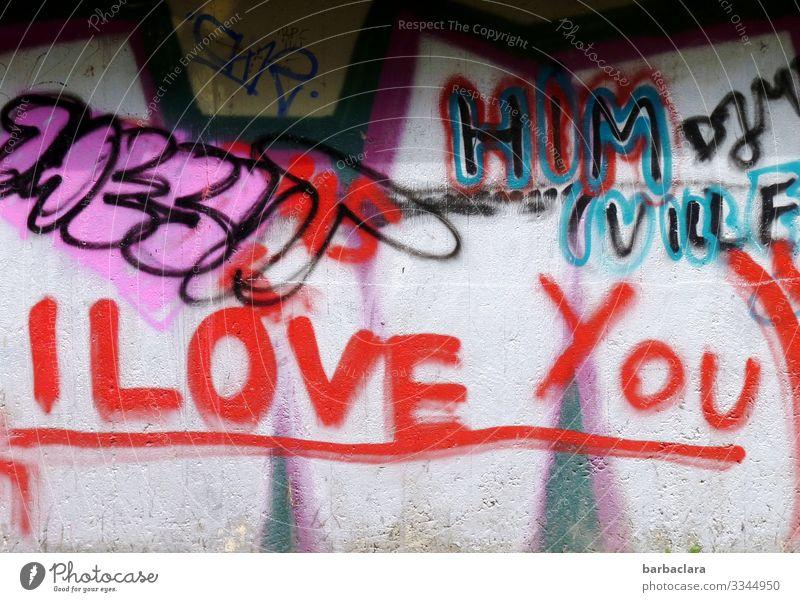 Geschriebenes | Liebesbekundung Stadt Farbe rot Graffiti Wand Mauer Fassade Stimmung Schriftzeichen Jugendkultur Zeichen schreiben Leidenschaft Verliebtheit