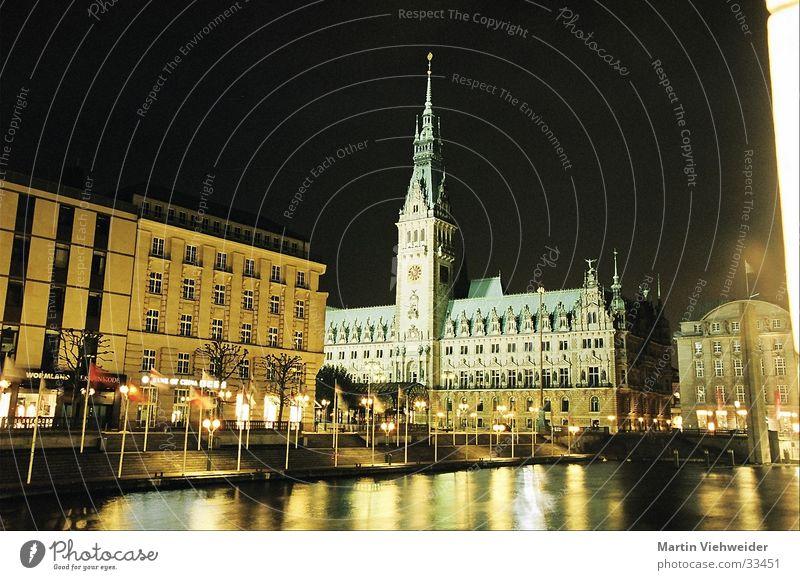 Rathaus Hamburg Nacht Langzeitbelichtung Bauwerk ruhig Europa Architektur