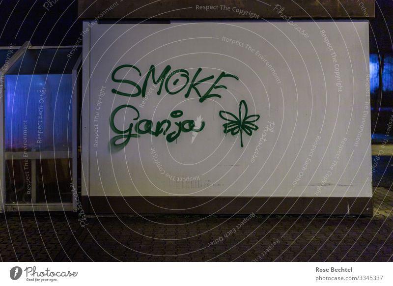 Smoke Ganja Rauschmittel Kunst Kultur Jugendkultur Subkultur Grafitti Bauwerk Gebäude Mauer Wand Graffiti Rauchen blau grün Gesellschaft (Soziologie)