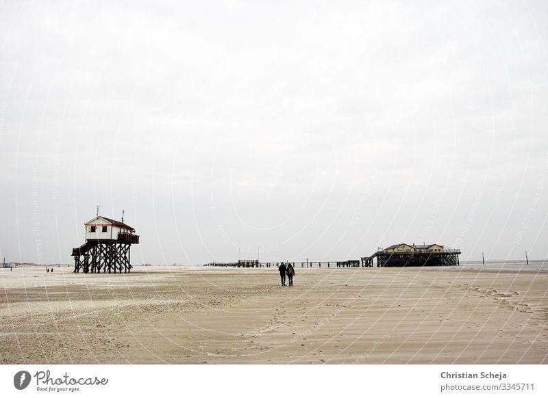 Two harmonisch Erholung ruhig Ferne Freiheit Strand Meer Paar 2 Mensch Küste Nordseeküste Nordseestrand St. Peter-Ording Sandstrand gehen wandern maritim