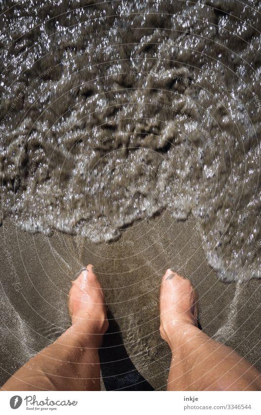 Meeresrauschen in braun Farbfoto Vogelperspektive sonnengebräunt Küste Brandung Sandstrand Barfuß Mitte Wasser nass untergehen Wärme Sommer dunkelbraun fein