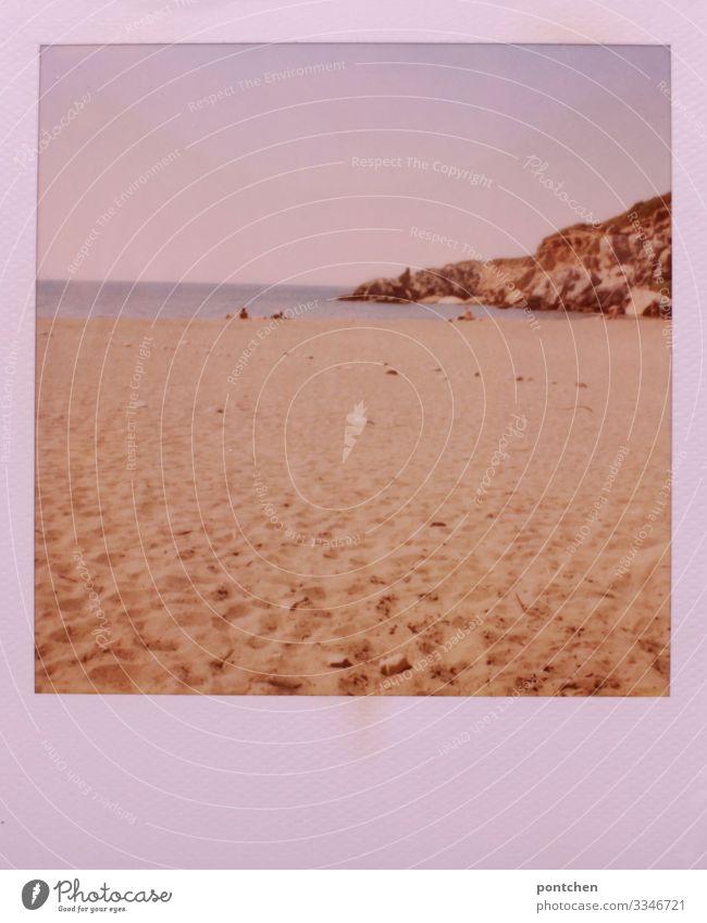 Polaroid zeigt Strand, Meer und Felsen Nachsaison strand meer felsen urlaub erholung griechenland schönes wetter sommer Ferien & Urlaub & Reisen Küste