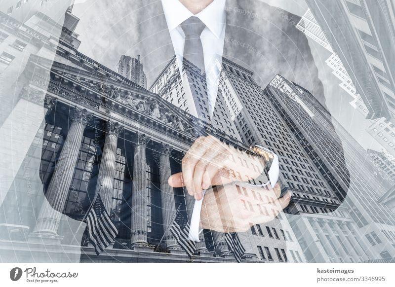 Unternehmens-, Finanz- und Börsenkonzepte als Collage. elegant Stil Geld Erfolg Wirtschaft Kapitalwirtschaft Geldinstitut Business Mensch Mann Erwachsene Mode