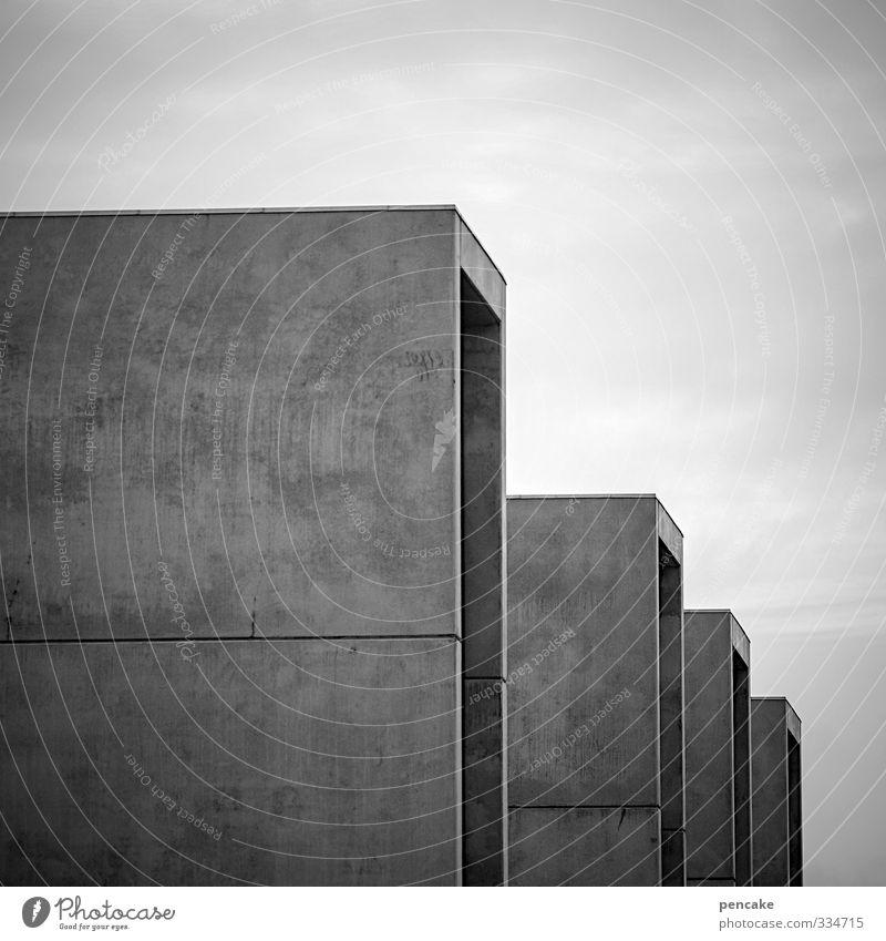 Rømø | bauhus Fortschritt Zukunft Haus Gebäude Architektur Fassade Beton Arbeit & Erwerbstätigkeit machen Häusliches Leben eckig kalt modern grau Business bauen