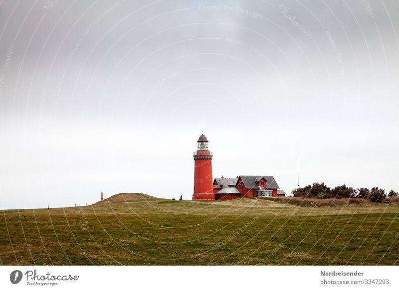 Leuchtturm Bovbjerg Fyr Ferien & Urlaub & Reisen Tourismus Himmel Wolken Frühling Sommer Klima Wind Gras Wiese Hügel Küste Nordsee Meer Fischerdorf Bauwerk