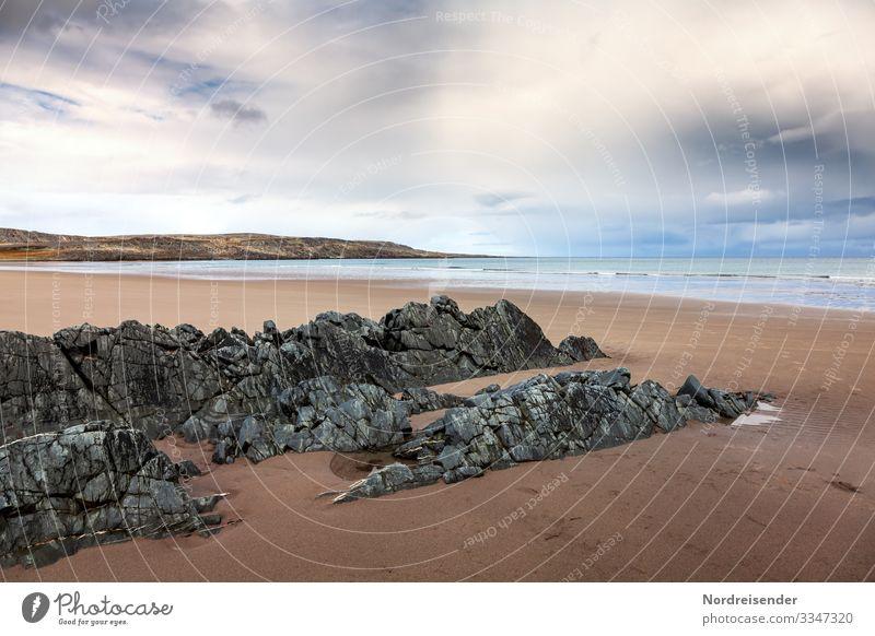 Sandstrand an der Barentssee Ferien & Urlaub & Reisen Ferne Freiheit Expedition Natur Landschaft Urelemente Wasser Himmel Gewitterwolken Wetter Felsen Wellen