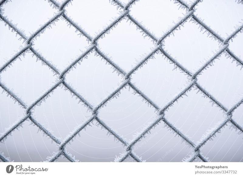 Schneebedeckter Metalldrahtzaun. Kalte Temperaturen Winter schlechtes Wetter Nebel Eis Frost Stahl frieren kalt weiß Schutz Geborgenheit Hintergrund Barriere