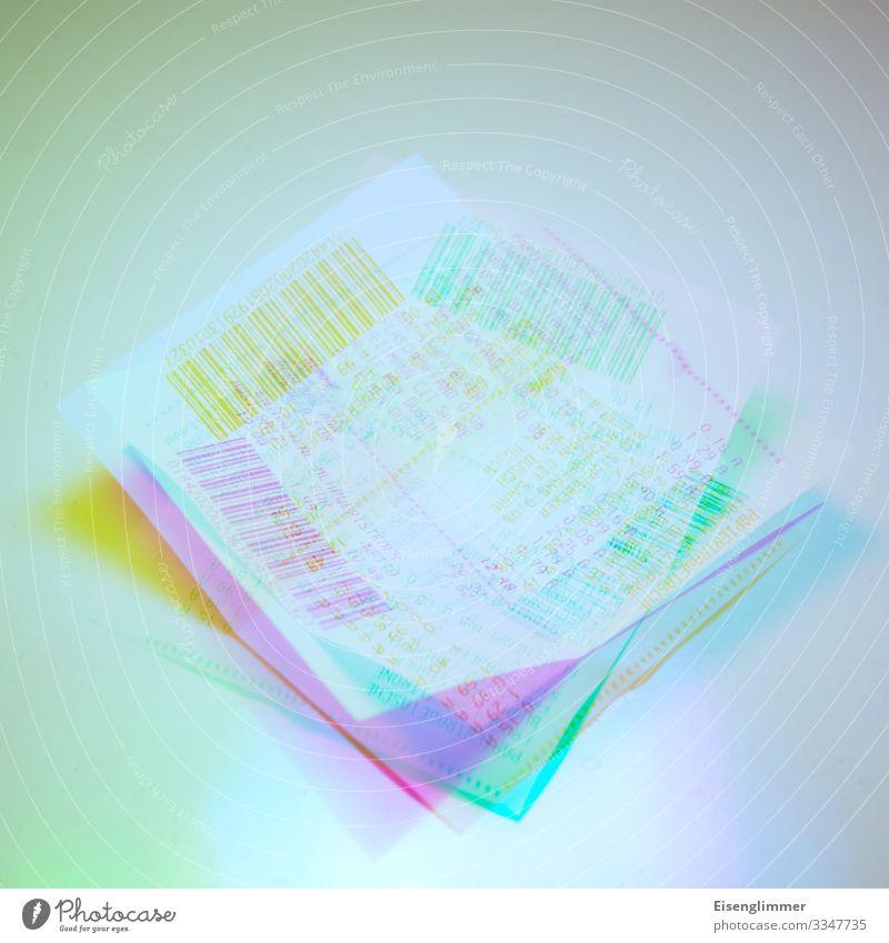 Zahlungsbelege Papier Quittung verrückt blau mehrfarbig gelb grün Business Ordnung Farbfoto Innenaufnahme Experiment Menschenleer Vogelperspektive