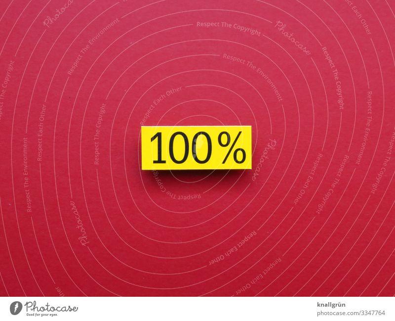 100% hundertprozentig Ziffern & Zahlen vollständig komplett Prozentzeichen Textfreiraum Zeichen Schilder & Markierungen Farbfoto rot gelb schwarz Schriftzeichen
