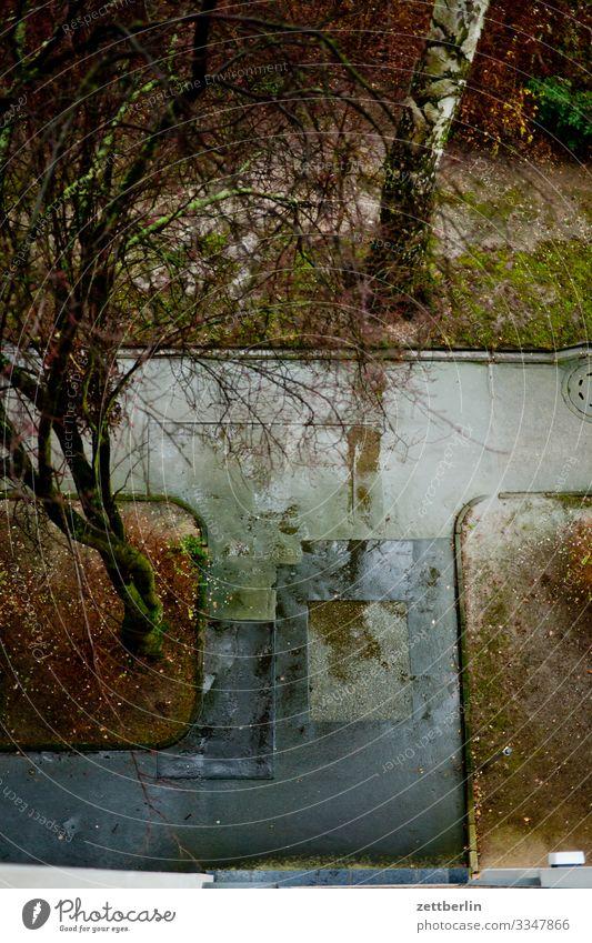 Bürgersteig im Regen Berlin nass Niederschlag Regenwasser Wassertropfen Fensterscheibe trüb Stadt Stadtleben Vogelperspektive Vorgarten Pfütze Menschenleer