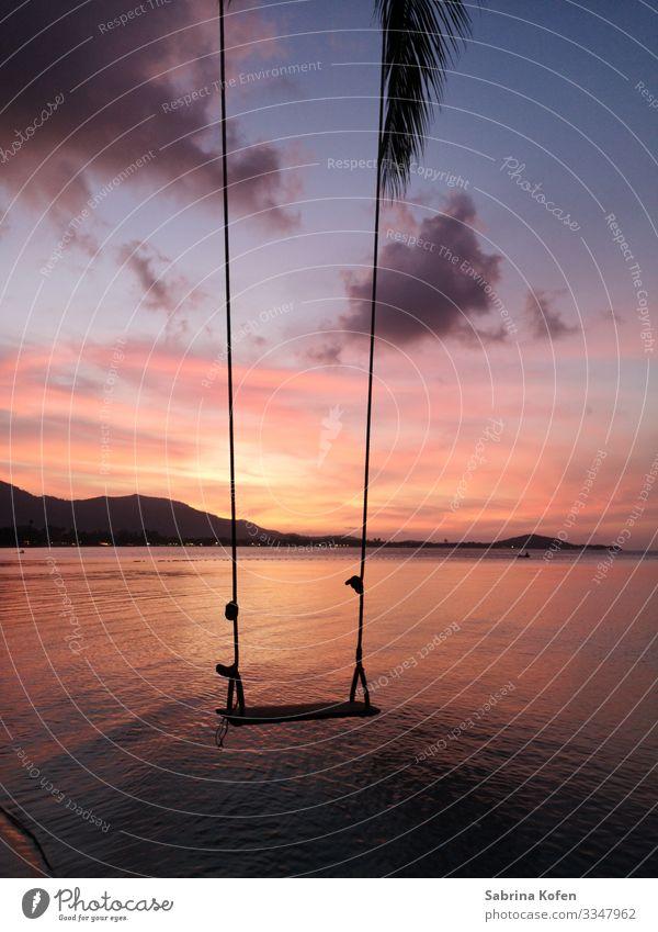 Abendstimmung auf Koh Samui Landschaft Himmel Sonnenaufgang Sonnenuntergang Schönes Wetter Strand Bucht Meer Andamanensee Thailand Gefühle Stimmung