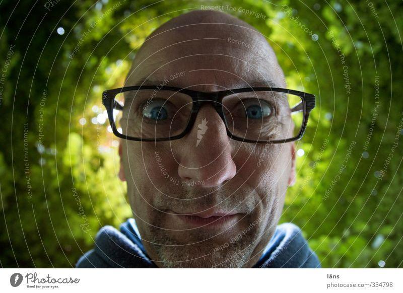 sind wir nicht alle ein bisschen blunaaa Mensch maskulin Mann Erwachsene Kopf Gesicht 1 45-60 Jahre Umwelt Pflanze Baum Brille Glatze Dreitagebart Neugier