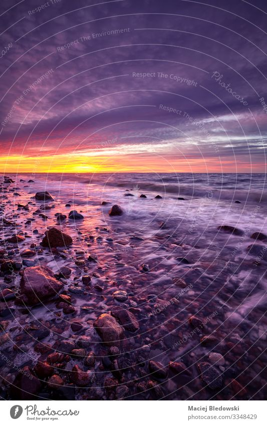Violetter Sonnenuntergang über einem wunderschönen Strand. Ferien & Urlaub & Reisen Freiheit Sommer Sommerurlaub Meer Insel Wellen Natur Landschaft Himmel
