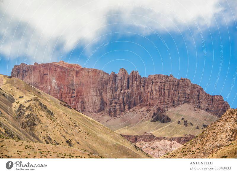 Kalkrotes Gestein in den Kordilleren der Anden Ferien & Urlaub & Reisen Tourismus Abenteuer Sommer Berge u. Gebirge wandern Klettern Bergsteigen Umwelt Natur