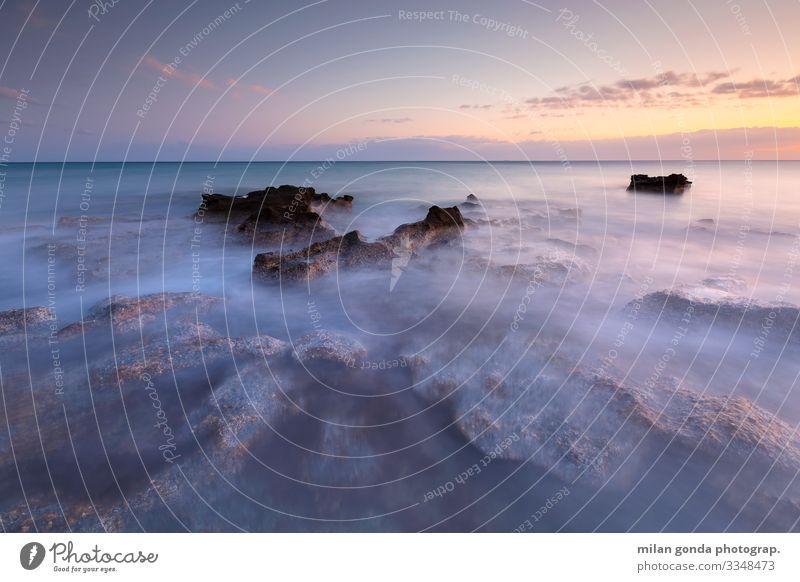Kreta. Strand Meer Natur Felsen Küste Stimmung Europa mediterran Griechenland Crete Ierapetra Strand von St. Andrew Meereslandschaft Sonnenuntergang Abend