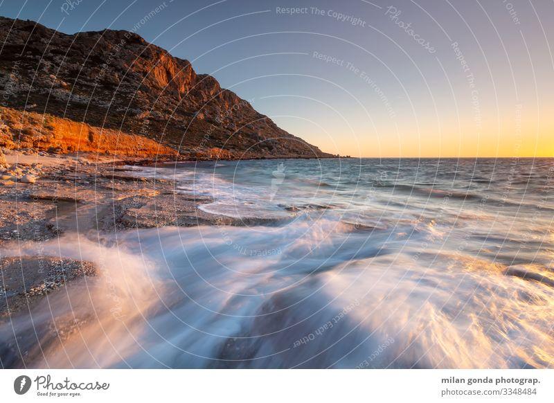Kreta. Strand Meer Berge u. Gebirge Natur Felsen Küste Stimmung Europa mediterran Griechenland Crete Lasithi Goudouras Meereslandschaft Sonnenuntergang Abend