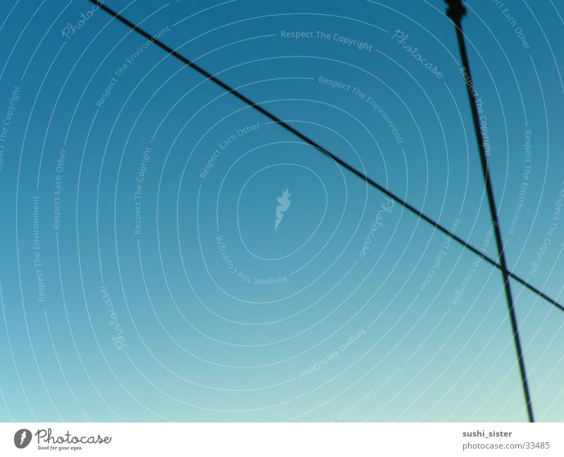 kabelhimmel Himmel blau Ferne Raum Industrie Kabel Leitung