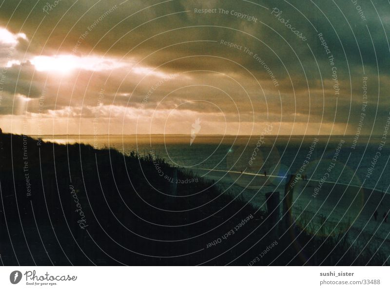 abendhimmel nordspiekeroog Meer Sonnenuntergang Strand Küste Abenddämmerung Abenrot Insel Wasser Landschaft Idylle