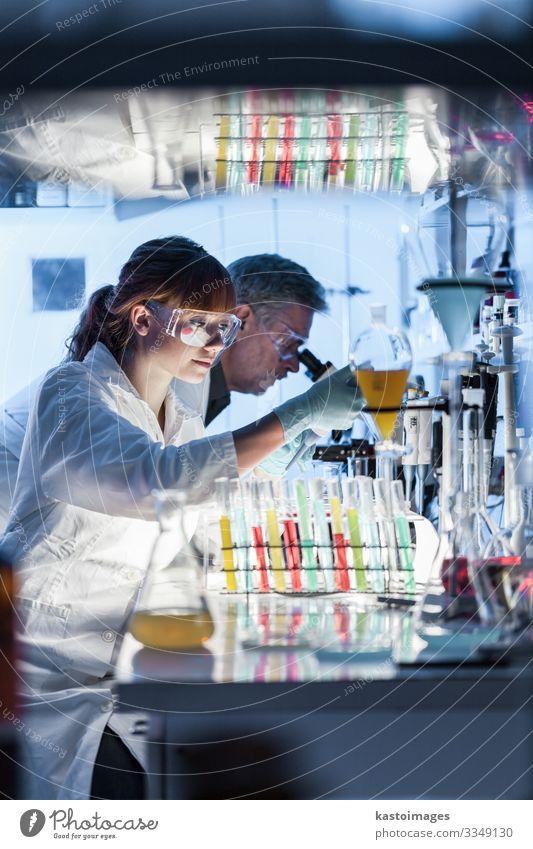 Gesundheitsforscher, die in einem wissenschaftlichen Labor arbeiten. Gesundheitswesen Medikament Wissenschaften Hochschullehrer Prüfung & Examen
