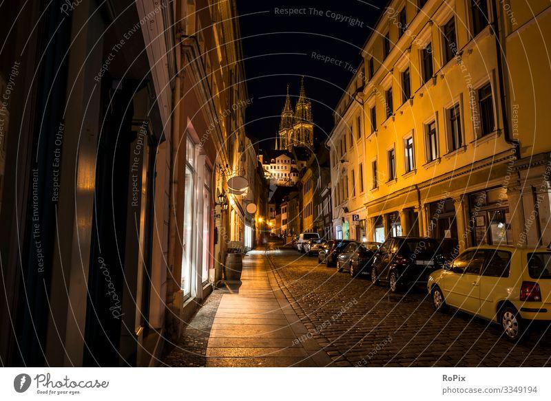 Nacht in den Meißener Straßen. Lifestyle Stil Design Ferien & Urlaub & Reisen Tourismus Sightseeing Städtereise Bildung Arbeit & Erwerbstätigkeit Beruf