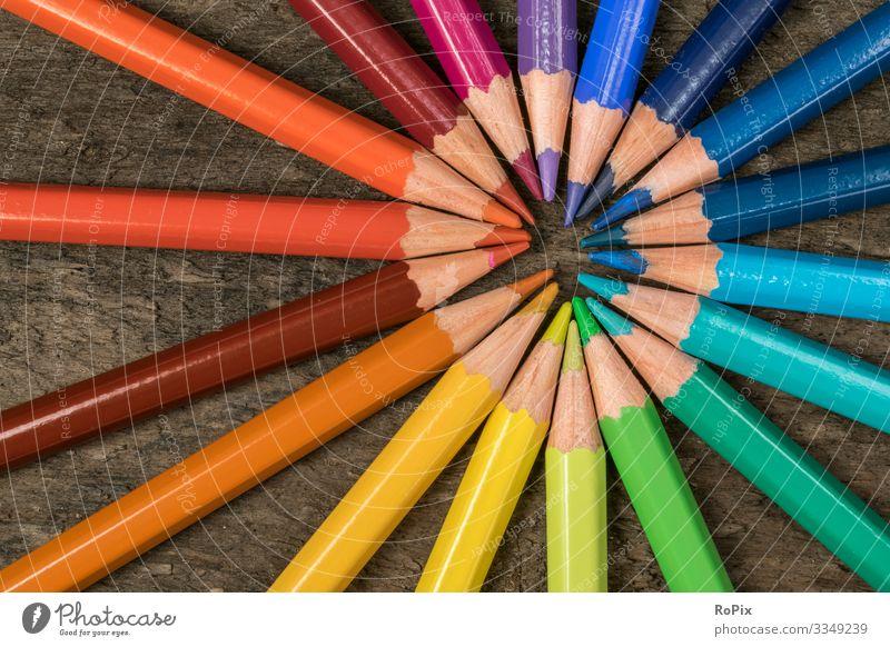 Ein Satz bunter Buntstifte. Lifestyle Stil Design Freizeit & Hobby Handarbeit Kinderspiel Bildung Wissenschaften Kindergarten Schule lernen