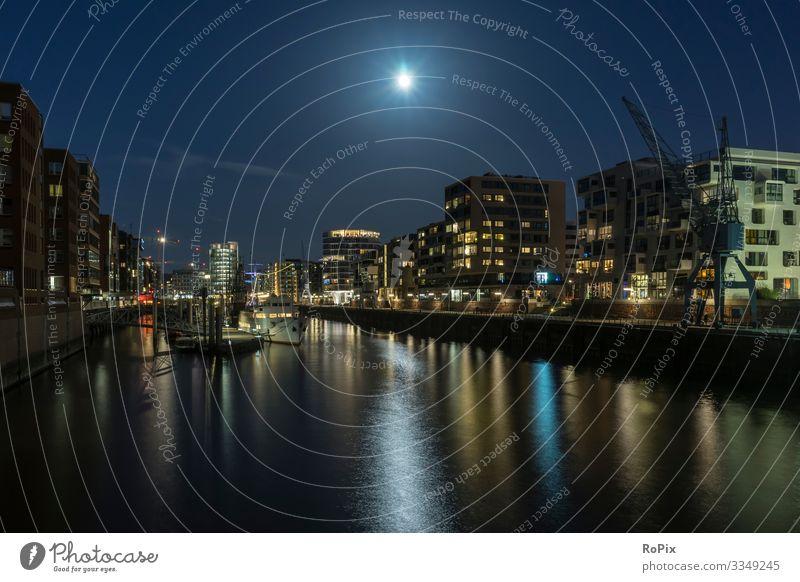 Hamburg Hafencity bei Nacht. Lifestyle elegant Stil Ferien & Urlaub & Reisen Tourismus Sightseeing Städtereise Häusliches Leben Arbeit & Erwerbstätigkeit Beruf