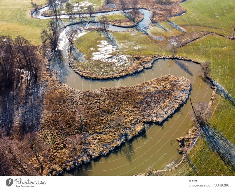 Flight over a small winding river Natur Wasser Feld Bach Fluss frei oben Area flight above aerial view altitude bird's eye view copter drone flight fly flying