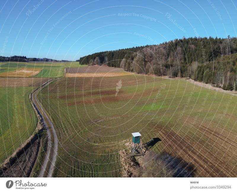 Aerial view of a dirt road between fields Landschaft Feld Wege & Pfade frei frisch Unendlichkeit Sauberkeit Area flight aerial view bird's eye view copter