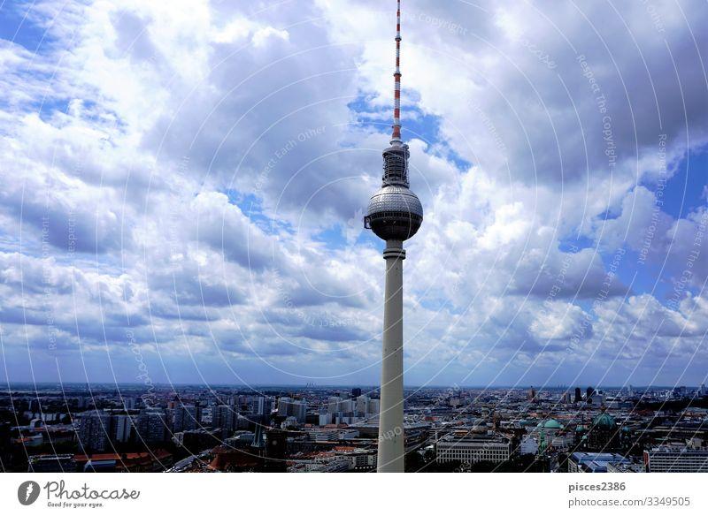 View over Berlin with television tower Ferien & Urlaub & Reisen Fernsehen Stadtzentrum Skyline Hochhaus Tower (Luftfahrt) hoch aerial Alexanderplatz