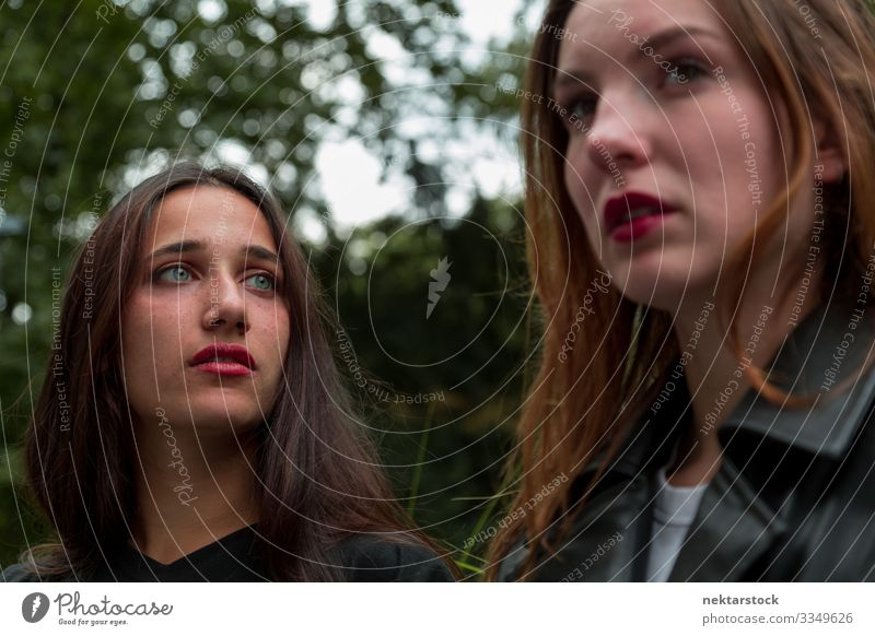 Frau aus dem Nahen Osten und Kaukasus schaut von der Kamera weg schön Erwachsene Freundschaft Jugendliche Natur Denken Mädchen weibliche Schönheit schöne Frau