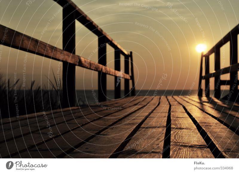 Der Weg zum Sommer Natur Ferien & Urlaub & Reisen schön Sonne Meer Ferne Wärme Wege & Pfade Freiheit Küste Holz Stimmung orange Zufriedenheit Tourismus
