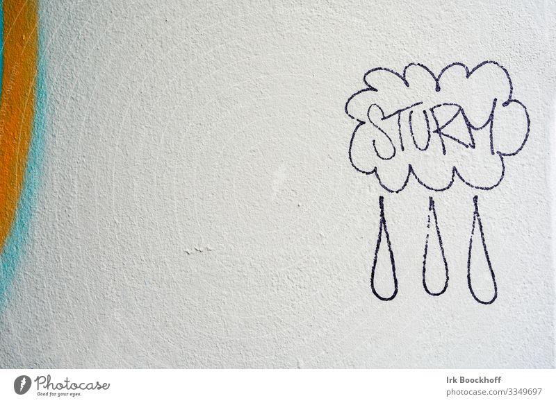 Graffiti an Hauswand, Sturm und Regen Subkultur Mauer Wand Beton Zeichen Schriftzeichen Kommunizieren lustig weiß Gefühle Stimmung Freude Farbfoto Nahaufnahme