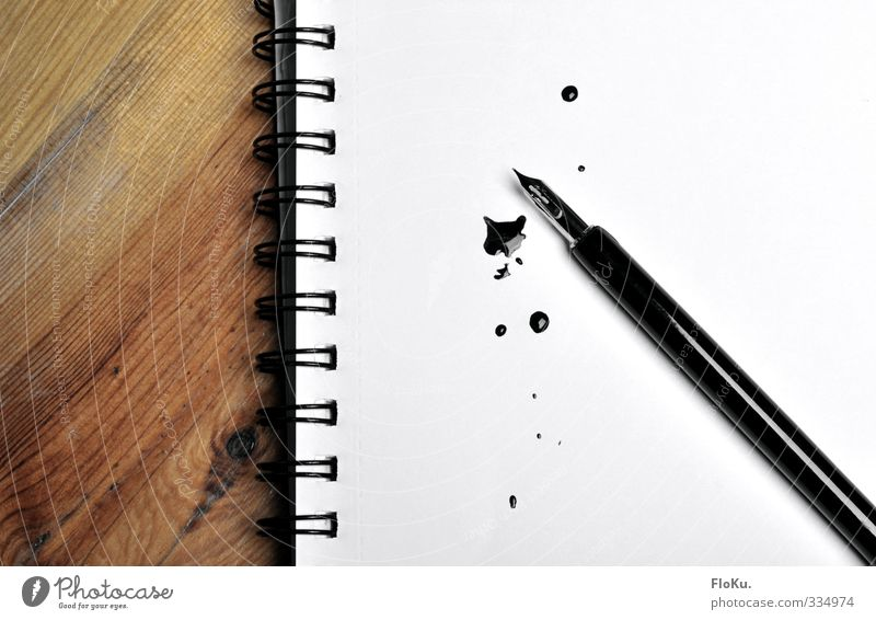 Schreibblockade schwarz Holz Papier Bildung schreiben Student Metallfeder Stress Verzweiflung Fleck Karriere Schreibstift Prüfung & Examen Zettel Arbeitsplatz