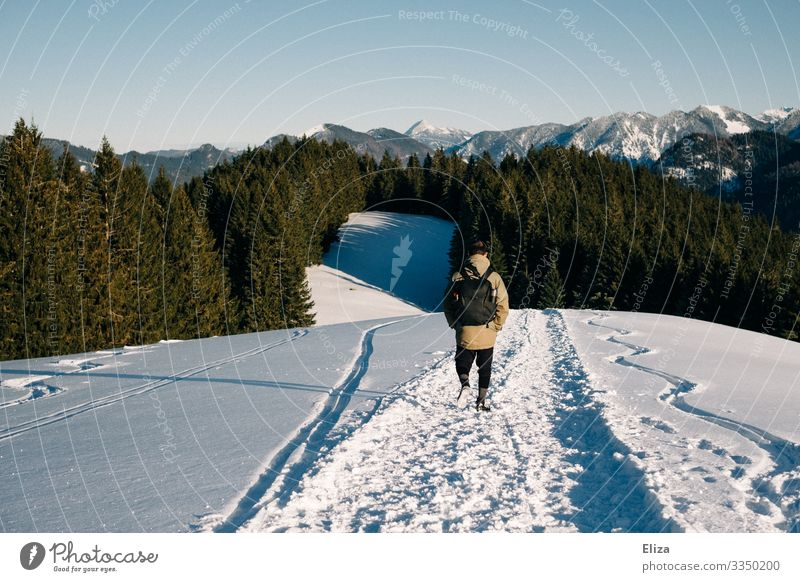 Ein Mann im Schnee auf einem Berg an einem sonnigen Tag mit Aussicht auf die Alpen. Wandern im Winter. Mensch maskulin Junger Mann Jugendliche Erwachsene