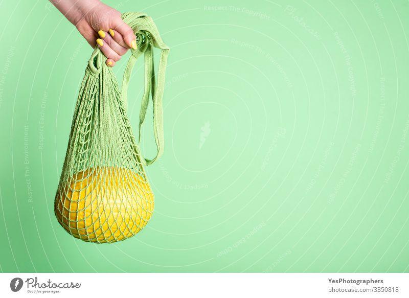 Honigmelone hängt in einer Netz-Einkaufstasche Frucht Dessert Ernährung Frühstück Bioprodukte kaufen Gesunde Ernährung grün Früchte kaufen farbenfroh