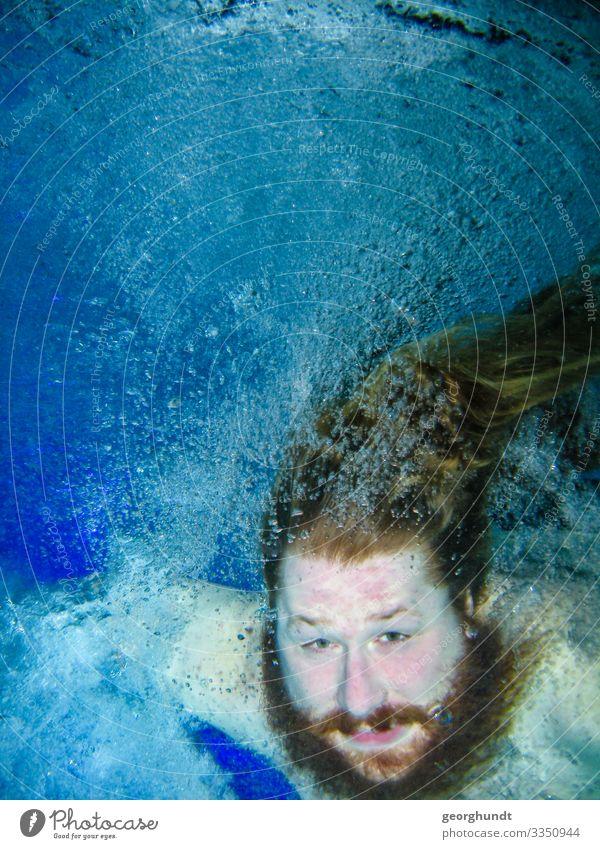 Der Kampf gegen die Luft Mensch Jugendliche nackt blau Junger Mann 18-30 Jahre Erwachsene Leben Sport Kopf Schwimmen & Baden maskulin Fitness Wellness