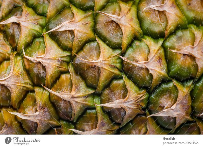 Schale einer reifen Ananas Makro-Nahaufnahme Frucht exotisch gebrauchen Hintergrund leere Vorlage detailliert Exotische Früchte Lebensmittel Ananas-Muster