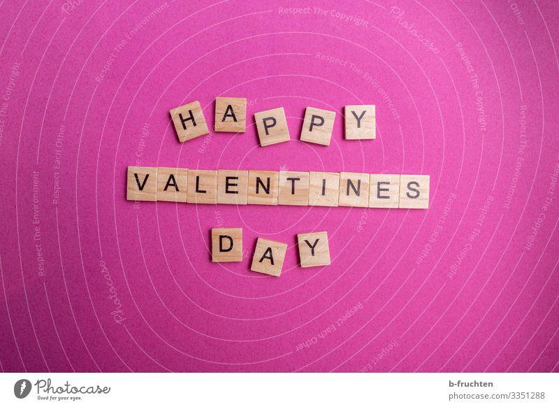 Happy Valentine Feste & Feiern Valentinstag Papier Schriftzeichen lesen schreiben frech verrückt rosa Scrabble Tag Fröhlichkeit Liebe Treue Verliebtheit