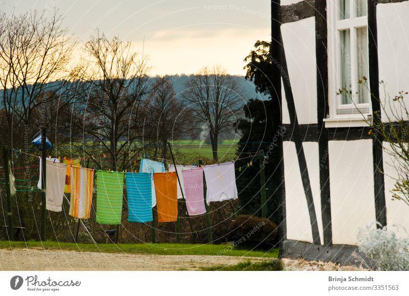 Bunte Handtücher trocknen an einer Wäscheleine alt Farbe schön Landschaft Frühling natürlich Glück Garten Häusliches Leben retro frisch Wetter ästhetisch