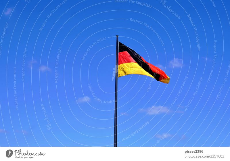 German flag in front of blue sky Ferien & Urlaub & Reisen Business Wind Fahne gelb Hintergrundbild Berlin black clear cloud color country culture democracy eu